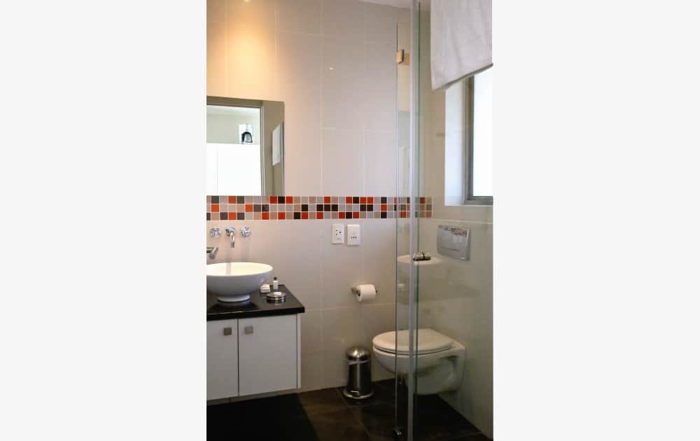 Badezimmer mit Dusche im Appartement - bathroom with shower in apartment